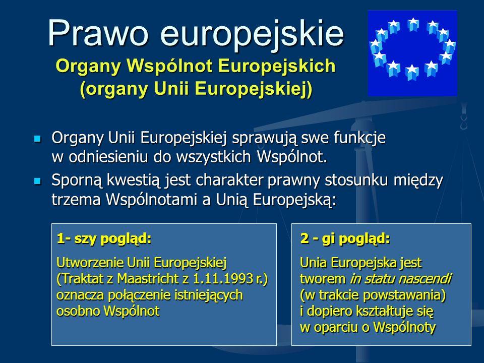 Prawo europejskie Organy Wspólnot Europejskich (organy Unii Europejskiej) Organy Unii Europejskiej sprawują swe funkcje w odniesieniu do wszystkich Ws