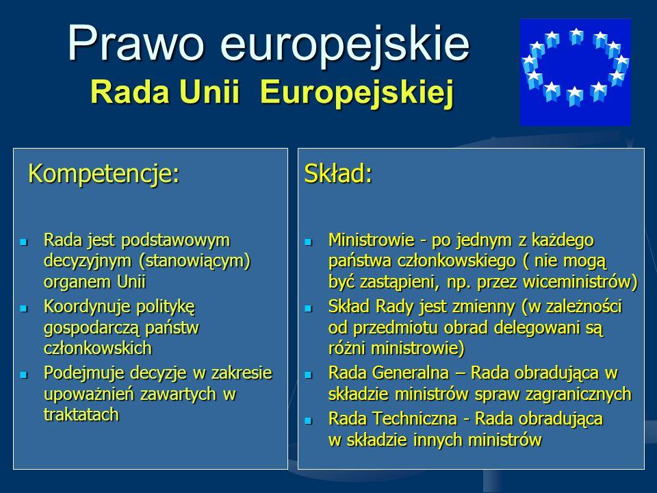 Prawo europejskie Rada Unii Europejskiej Przewodnictwo Przewodnictwo w Radzie w Radzie Sprawowane jest przez kolejne państwa członkowskie w cyklach 6-cio miesięcznych Sprawowane jest przez kolejne państwa członkowskie w cyklach 6-cio miesięcznych Przewodniczącym Rady jest każdorazowo minister spraw zagranicznych państwa sprawującego przewodnictwo Przewodniczącym Rady jest każdorazowo minister spraw zagranicznych państwa sprawującego przewodnictwo Sposób głosowania w Radzie Decyzje podejmowane są: - jednogłośnie (sprawy wymienione w traktatach o znaczeniu fundamentalnym) - kwalifikowaną większością (liczne sprawy, w których stosuje się tzw.