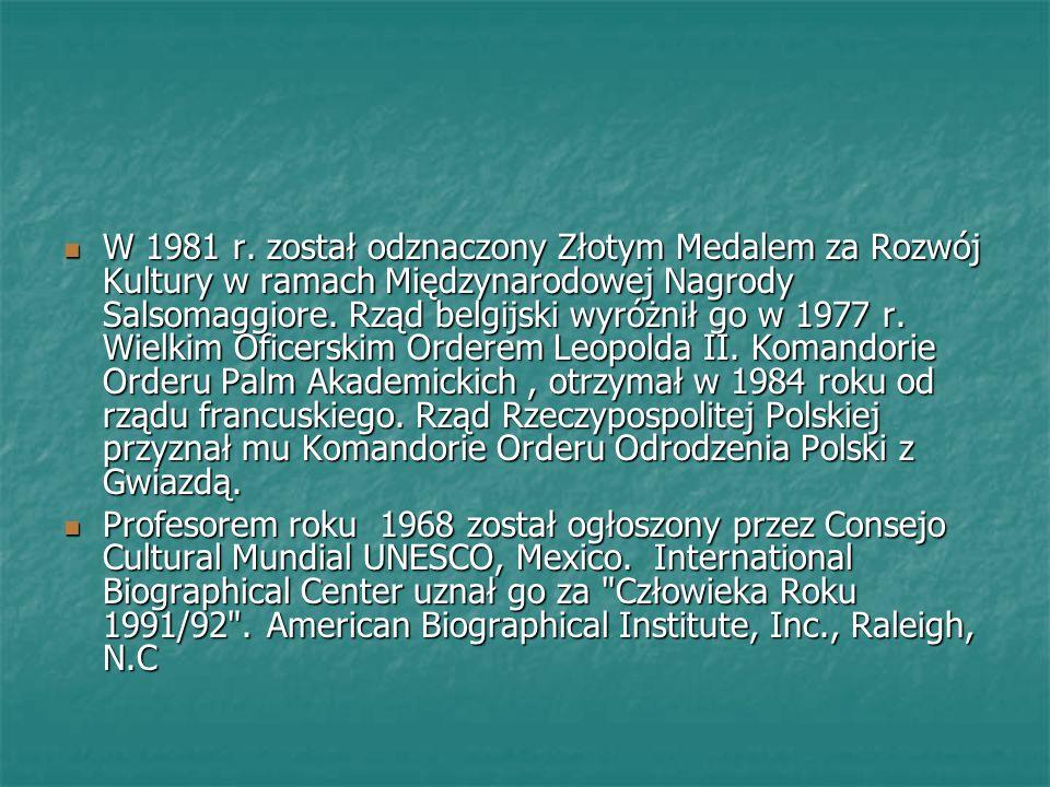 W 1981 r. został odznaczony Złotym Medalem za Rozwój Kultury w ramach Międzynarodowej Nagrody Salsomaggiore. Rząd belgijski wyróżnił go w 1977 r. Wiel