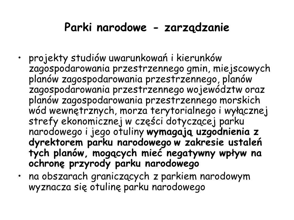 Parki narodowe - zarządzanie projekty studiów uwarunkowań i kierunków zagospodarowania przestrzennego gmin, miejscowych planów zagospodarowania przest
