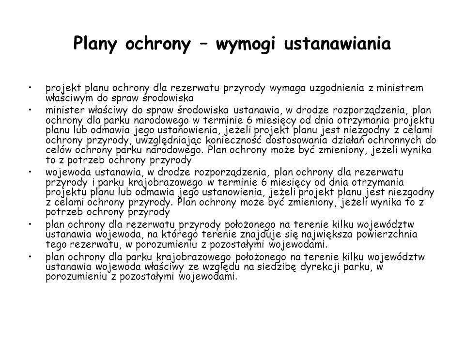 Plany ochrony – okres obowiązywania planu Plan ochrony dla parku narodowego, rezerwatu przyrody oraz parku krajobrazowego sporządza się na okres 20 lat