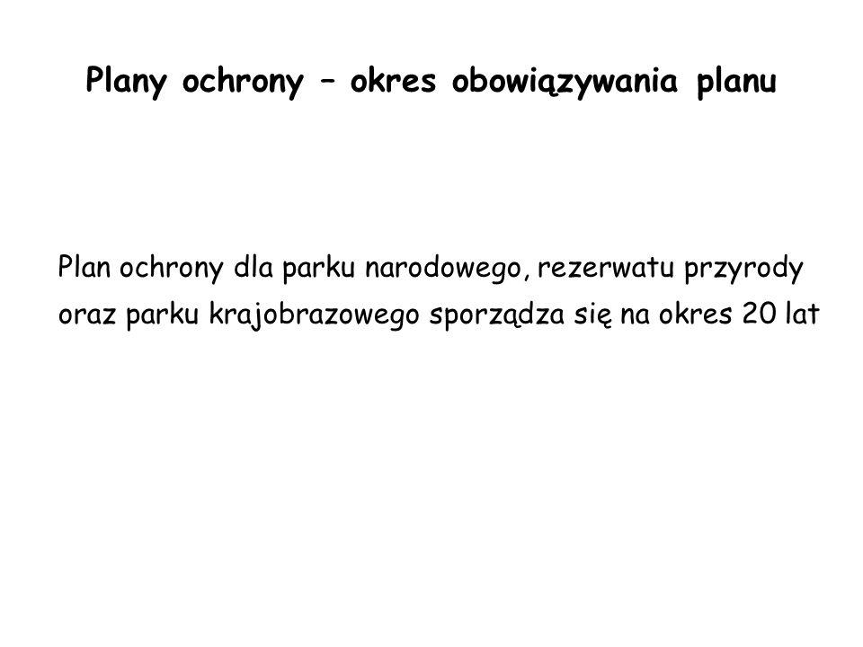 Plany ochrony – okres obowiązywania planu Plan ochrony dla parku narodowego, rezerwatu przyrody oraz parku krajobrazowego sporządza się na okres 20 la
