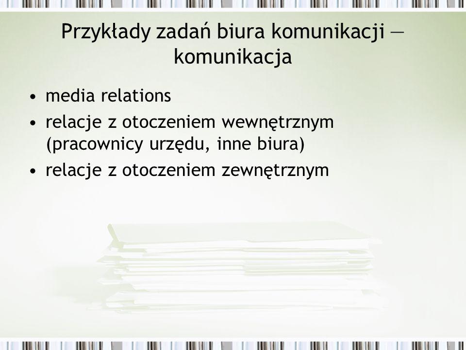 Przykłady zadań biura komunikacji komunikacja media relations relacje z otoczeniem wewnętrznym (pracownicy urzędu, inne biura) relacje z otoczeniem ze
