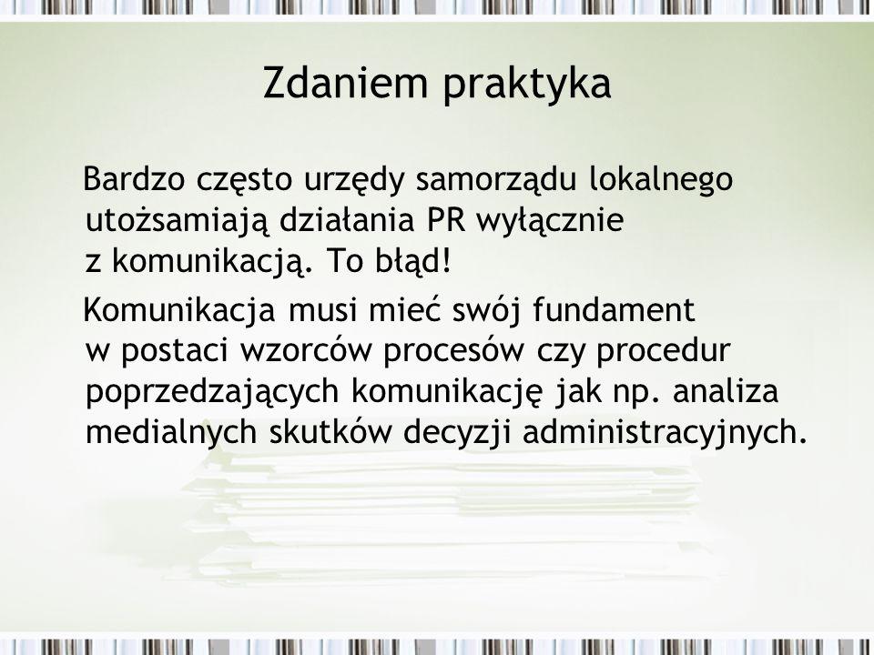 Zdaniem praktyka Bardzo często urzędy samorządu lokalnego utożsamiają działania PR wyłącznie z komunikacją. To błąd! Komunikacja musi mieć swój fundam