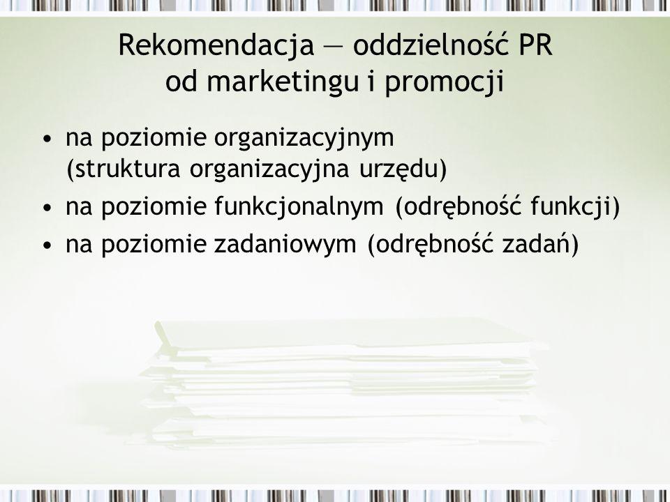Rekomendacja oddzielność PR od marketingu i promocji na poziomie organizacyjnym (struktura organizacyjna urzędu) na poziomie funkcjonalnym (odrębność