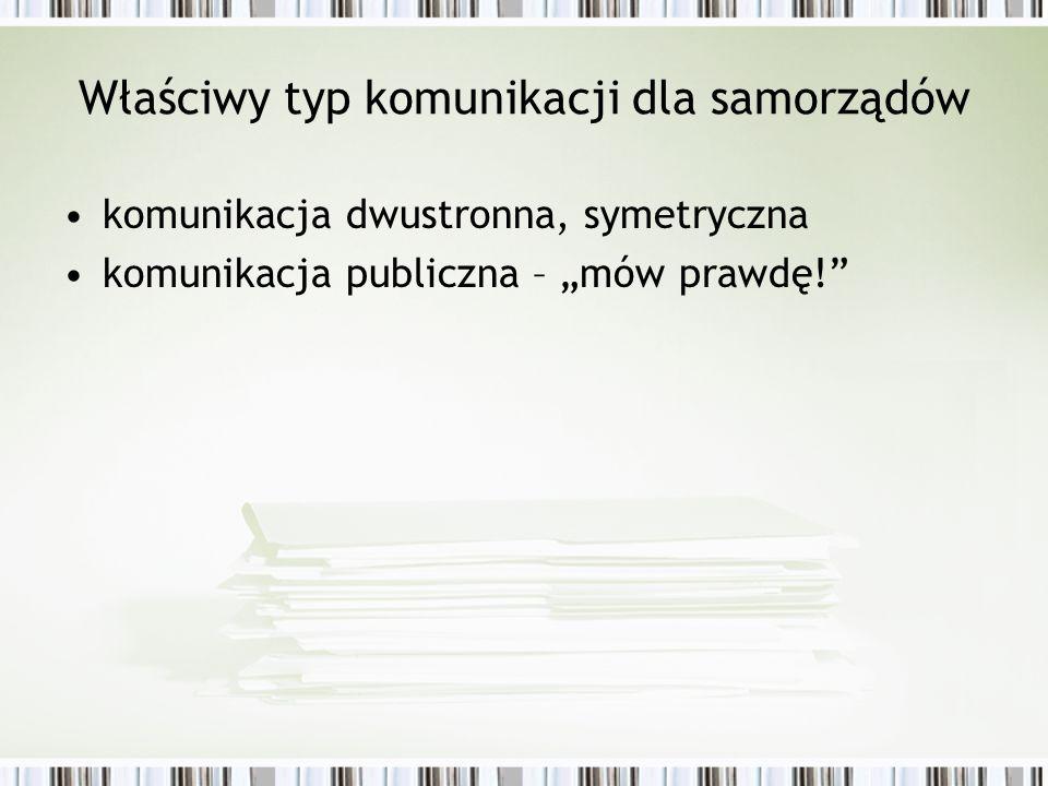 Właściwy typ komunikacji dla samorządów komunikacja dwustronna, symetryczna komunikacja publiczna – mów prawdę!