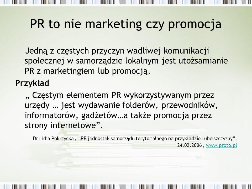 PR to nie marketing czy promocja Jedną z częstych przyczyn wadliwej komunikacji społecznej w samorządzie lokalnym jest utożsamianie PR z marketingiem
