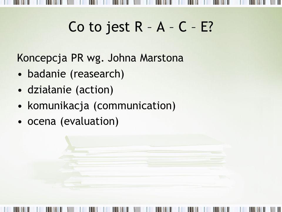 Co to jest R – A – C – E? Koncepcja PR wg. Johna Marstona badanie (reasearch) działanie (action) komunikacja (communication) ocena (evaluation)