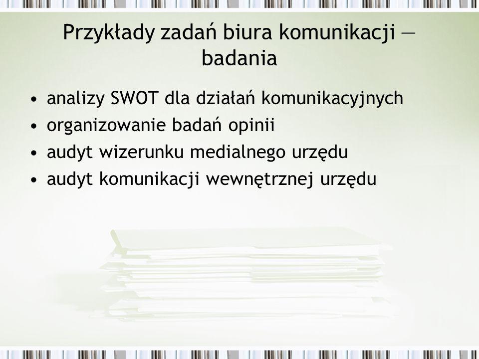 Przykłady zadań biura komunikacji badania analizy SWOT dla działań komunikacyjnych organizowanie badań opinii audyt wizerunku medialnego urzędu audyt