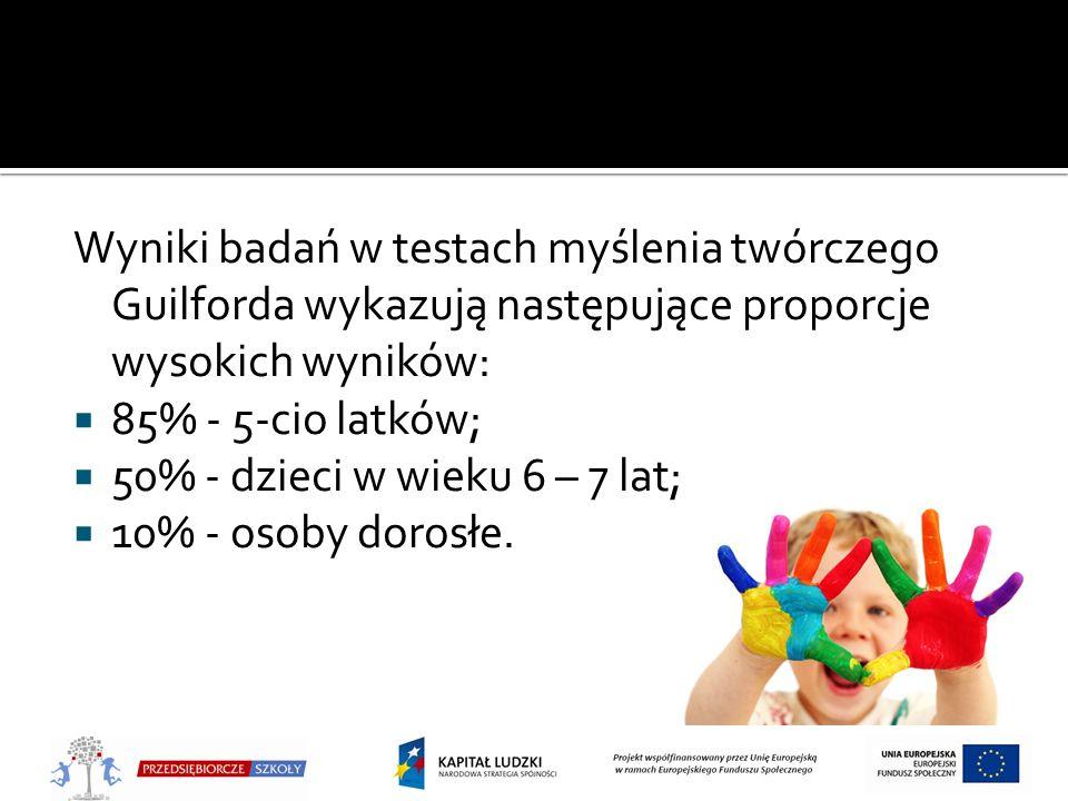 Wyniki badań w testach myślenia twórczego Guilforda wykazują następujące proporcje wysokich wyników: 85% - 5-cio latków; 50% - dzieci w wieku 6 – 7 la