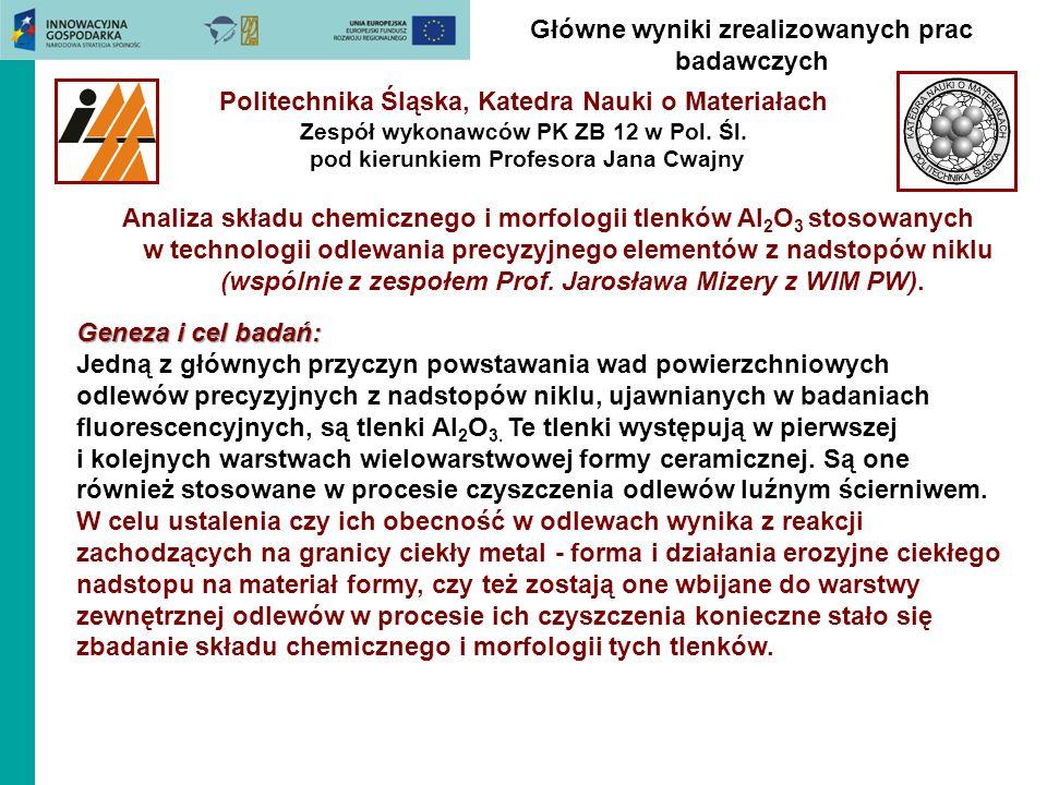 Główne wyniki zrealizowanych prac badawczych Politechnika Śląska, Katedra Nauki o Materiałach Zespół wykonawców PK ZB 12 w Pol. Śl. pod kierunkiem Pro
