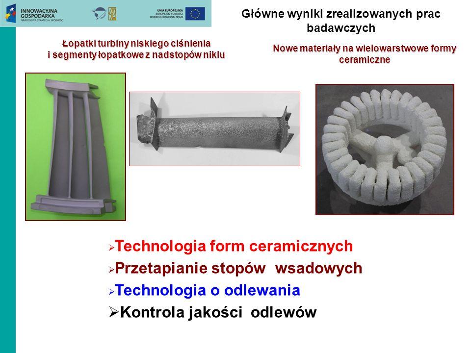 Główne wyniki zrealizowanych prac badawczych Łopatki turbiny niskiego ciśnienia i segmenty łopatkowe z nadstopów niklu Technologia form ceramicznych P