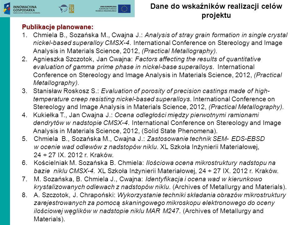 Dane do wskaźników realizacji celów projektu Publikacje planowane: 1.Chmiela B., Sozańska M., Cwajna J.: Analysis of stray grain formation in single c