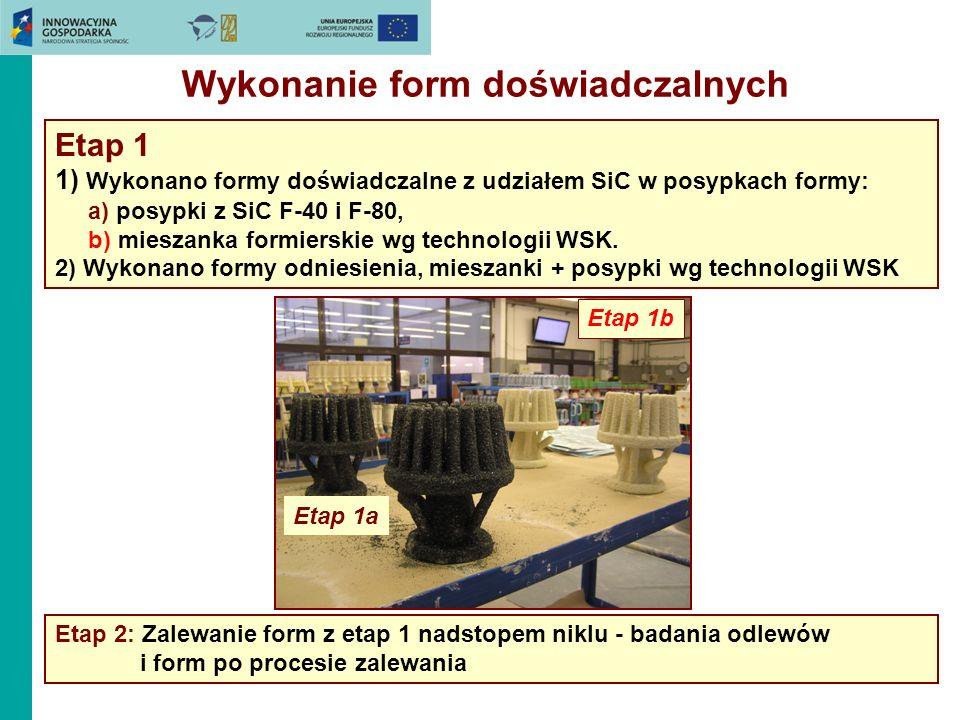 Wykonanie form doświadczalnych Etap 1 1) Wykonano formy doświadczalne z udziałem SiC w posypkach formy: a) posypki z SiC F-40 i F-80, b) mieszanka for
