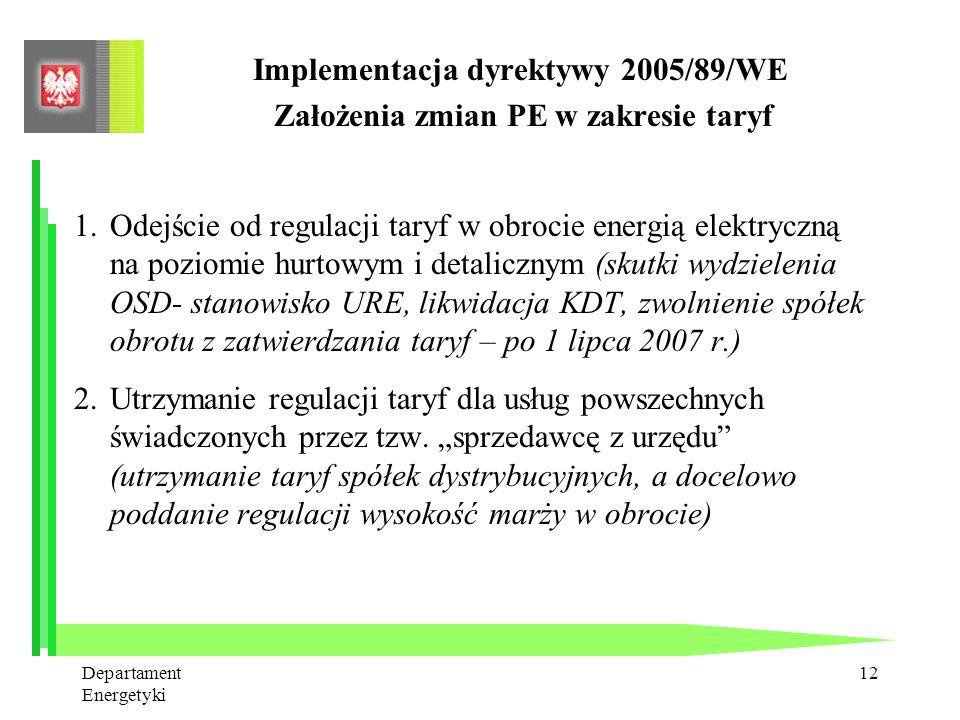 Departament Energetyki 11 Implementacja dyrektywy 2005/89/WE Warunki polityki bezpieczeństwa dostaw (2) Polityka bezpieczeństwa dostaw powinna także: