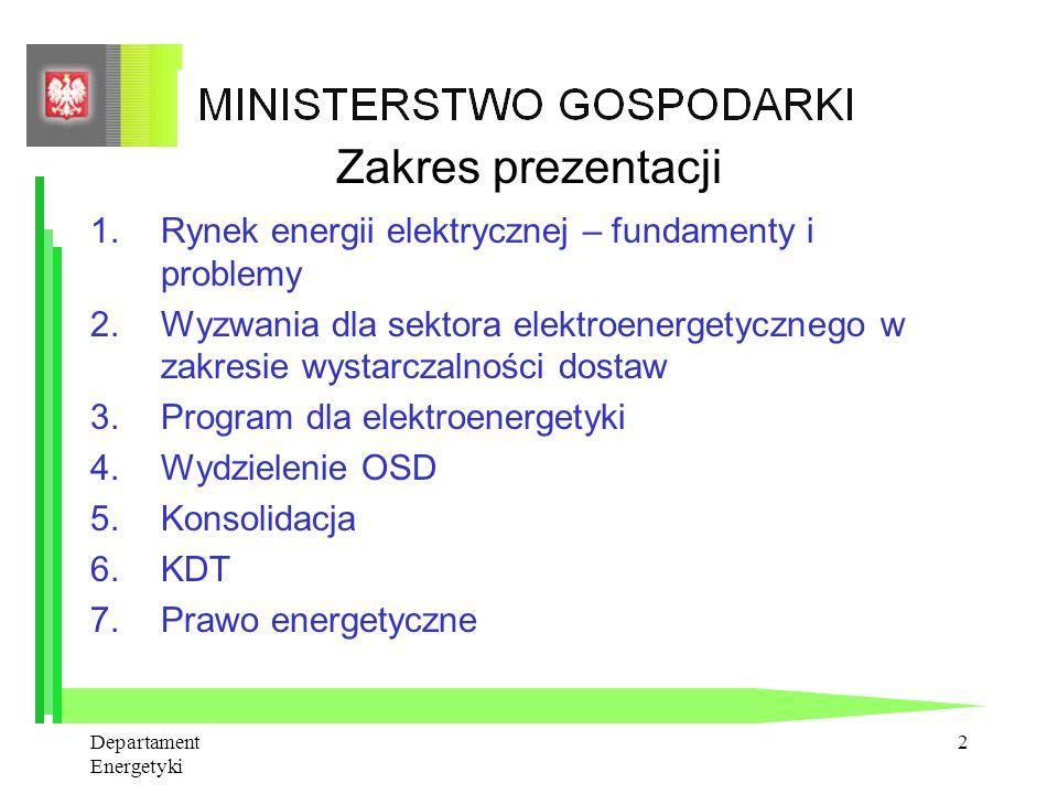 Departament Energetyki 1 Zmiany na rynku energii elektrycznej Andrzej Kania Dyrektor Departamentu Energetyki Warszawa, 20 czerwca 2007 r.
