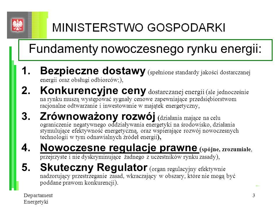 Departament Energetyki 2 Zakres prezentacji 1.Rynek energii elektrycznej – fundamenty i problemy 2.Wyzwania dla sektora elektroenergetycznego w zakres