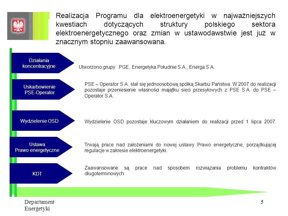 Departament Energetyki 4 Główne problemy elektroenergetyki: WZRASTAJĄCE ZAPOTRZEBOWANIE STARZEJĄCE SIĘ MOCE WYTWÓRCZE W ciągu 10 lat trzeba zlikwidowa