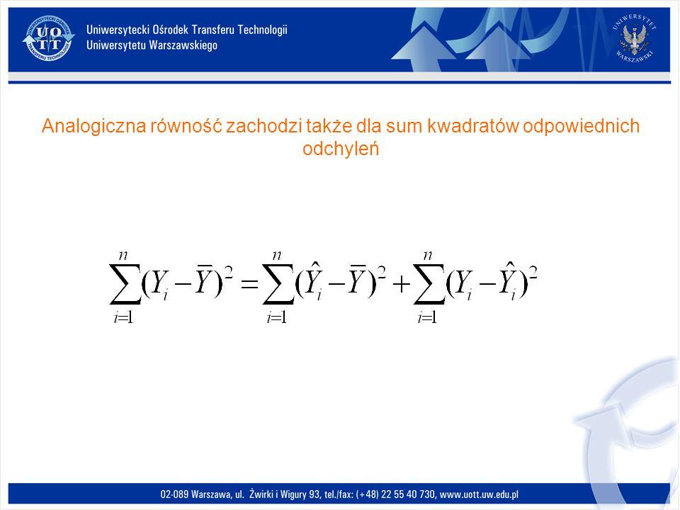Analogiczna równość zachodzi także dla sum kwadratów odpowiednich odchyleń
