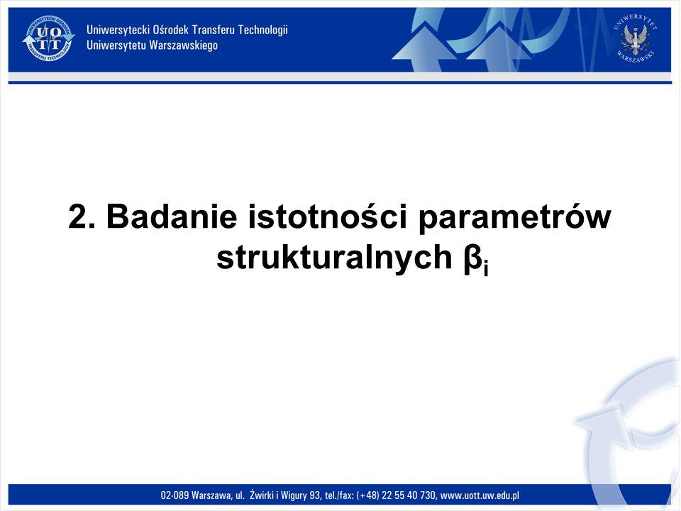 2. Badanie istotności parametrów strukturalnych β i