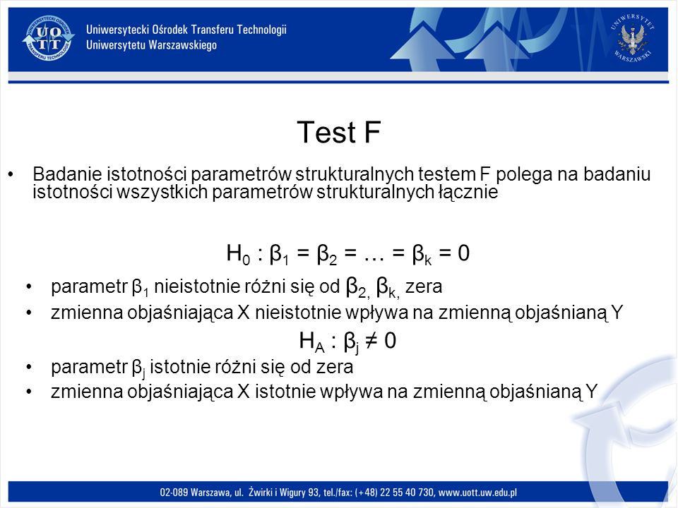 Test F Badanie istotności parametrów strukturalnych testem F polega na badaniu istotności wszystkich parametrów strukturalnych łącznie H 0 : β 1 = β 2 = … = β k = 0 parametr β 1 nieistotnie różni się od β 2, β k, zera zmienna objaśniająca X nieistotnie wpływa na zmienną objaśnianą Y H A : β j 0 parametr β j istotnie różni się od zera zmienna objaśniająca X istotnie wpływa na zmienną objaśnianą Y
