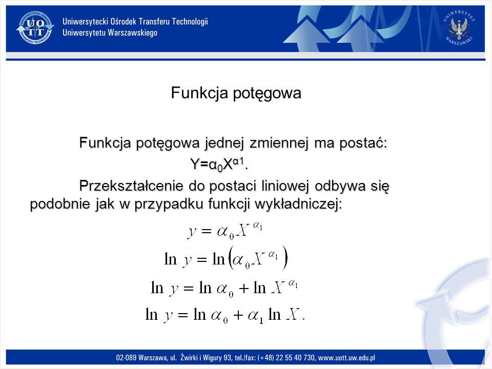 Funkcja potęgowa jednej zmiennej ma postać: Y=α 0 X α1.