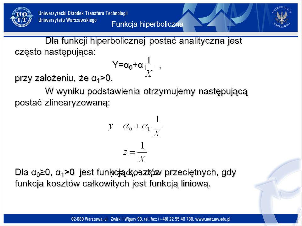 Dla funkcji hiperbolicznej postać analityczna jest często następująca: Y=α 0 +α 1, przy założeniu, że α 1 >0.