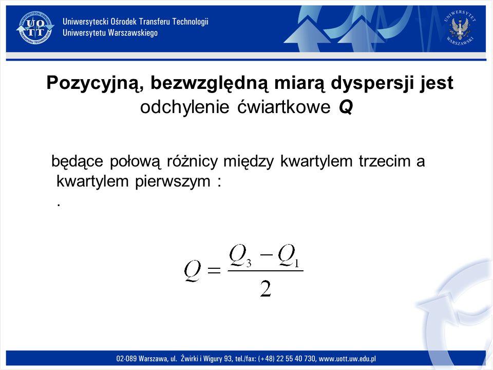 Pozycyjną, bezwzględną miarą dyspersji jest odchylenie ćwiartkowe Q będące połową różnicy między kwartylem trzecim a kwartylem pierwszym :.