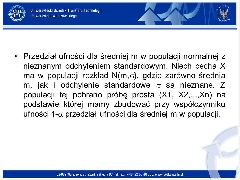 Przedział ufności dla średniej m w populacji normalnej z nieznanym odchyleniem standardowym.