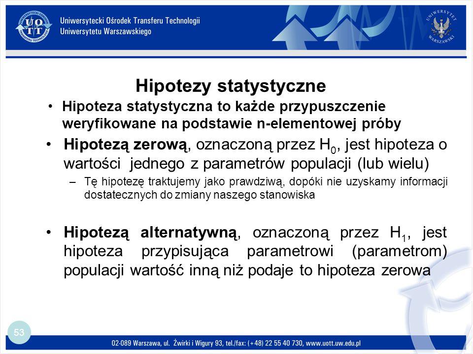 Hipotezy statystyczne 53 Hipoteza statystyczna to każde przypuszczenie weryfikowane na podstawie n-elementowej próby Hipotezą zerową, oznaczoną przez H 0, jest hipoteza o wartości jednego z parametrów populacji (lub wielu) –Tę hipotezę traktujemy jako prawdziwą, dopóki nie uzyskamy informacji dostatecznych do zmiany naszego stanowiska Hipotezą alternatywną, oznaczoną przez H 1, jest hipoteza przypisująca parametrowi (parametrom) populacji wartość inną niż podaje to hipoteza zerowa