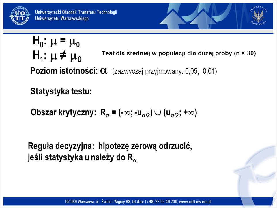 Test dla średniej w populacji dla dużej próby (n > 30) H 0 : = 0 H 1 : 0 Poziom istotności: (zazwyczaj przyjmowany: 0,05; 0,01) Statystyka testu: Obszar krytyczny: R = (- ; -u /2 ) (u /2 ; + ) Reguła decyzyjna: hipotezę zerową odrzucić, jeśli statystyka u należy do R