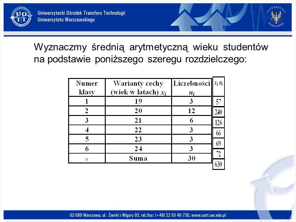 Wyznaczmy średnią arytmetyczną wieku studentów na podstawie poniższego szeregu rozdzielczego: