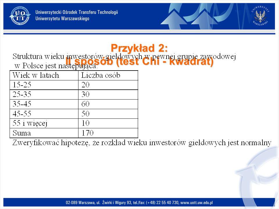 Przykład 2: II sposób (test Chi - kwadrat)