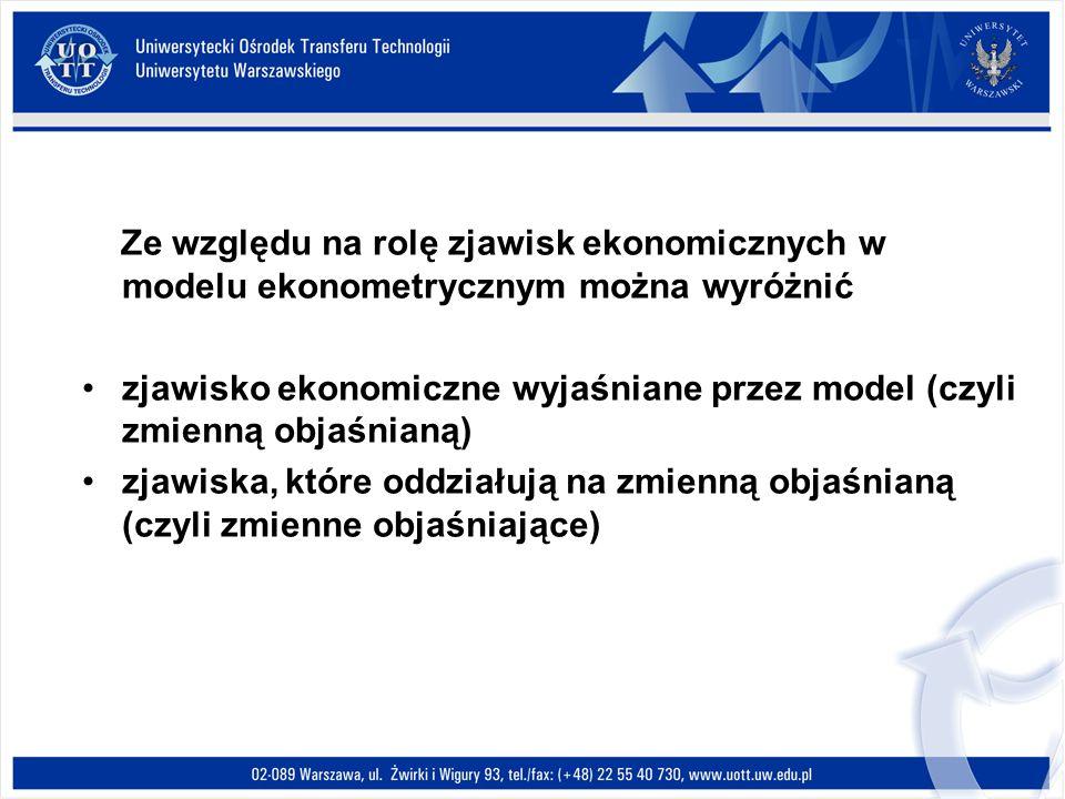Ze względu na rolę zjawisk ekonomicznych w modelu ekonometrycznym można wyróżnić zjawisko ekonomiczne wyjaśniane przez model (czyli zmienną objaśnianą) zjawiska, które oddziałują na zmienną objaśnianą (czyli zmienne objaśniające)