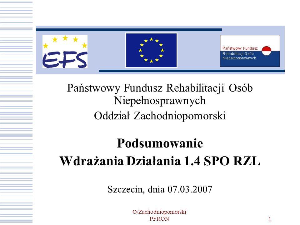 O/Zachodniopomorski PFRON12 Efekty realizowanych projektów- stan na koniec 2006 roku Liczba beneficjentów ostatecznych objętych wsparciem- 22 448, w tym 13 462 ON ze znacznym lub umiarkowanym stopniem niepełnosprawności; Liczba osób, które ukończyły działanie- 8 549; % osób, którym uczestnictwo w Działaniu przyniosło już korzyści- 72,49% I