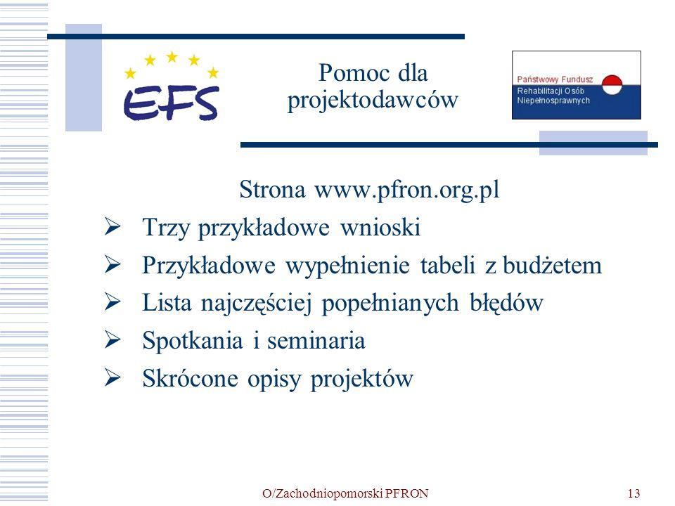 O/Zachodniopomorski PFRON13 Pomoc dla projektodawców Strona www.pfron.org.pl Trzy przykładowe wnioski Przykładowe wypełnienie tabeli z budżetem Lista