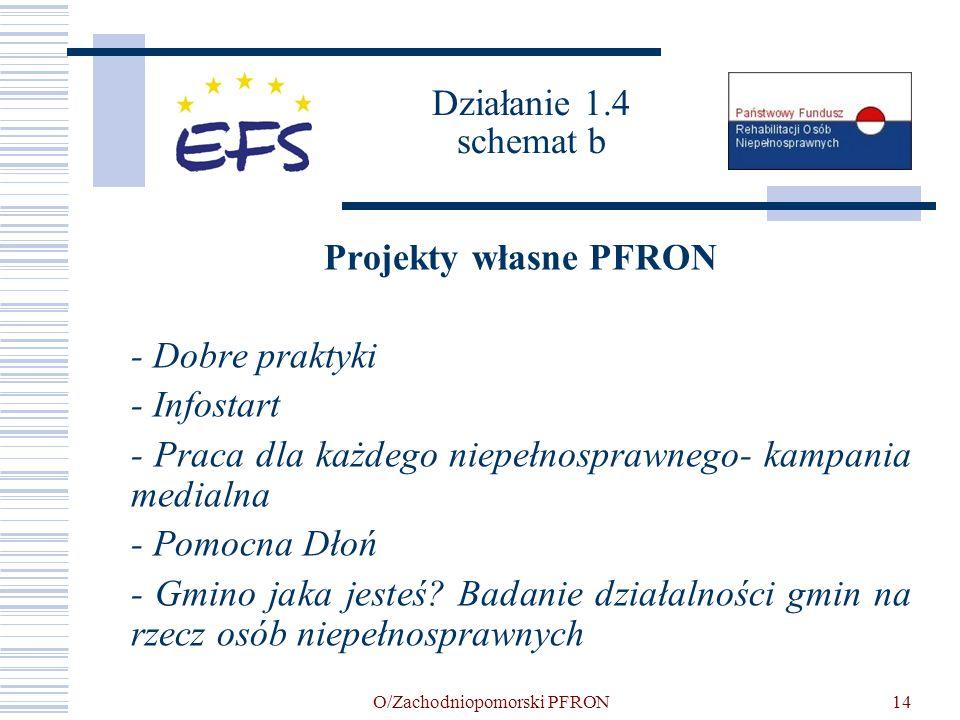 O/Zachodniopomorski PFRON14 Działanie 1.4 schemat b Projekty własne PFRON - Dobre praktyki - Infostart - Praca dla każdego niepełnosprawnego- kampania