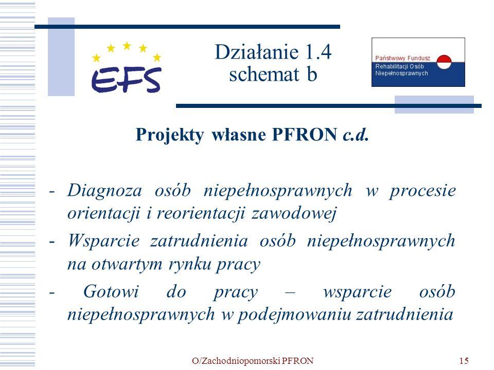 O/Zachodniopomorski PFRON15 Działanie 1.4 schemat b Projekty własne PFRON c.d. - Diagnoza osób niepełnosprawnych w procesie orientacji i reorientacji