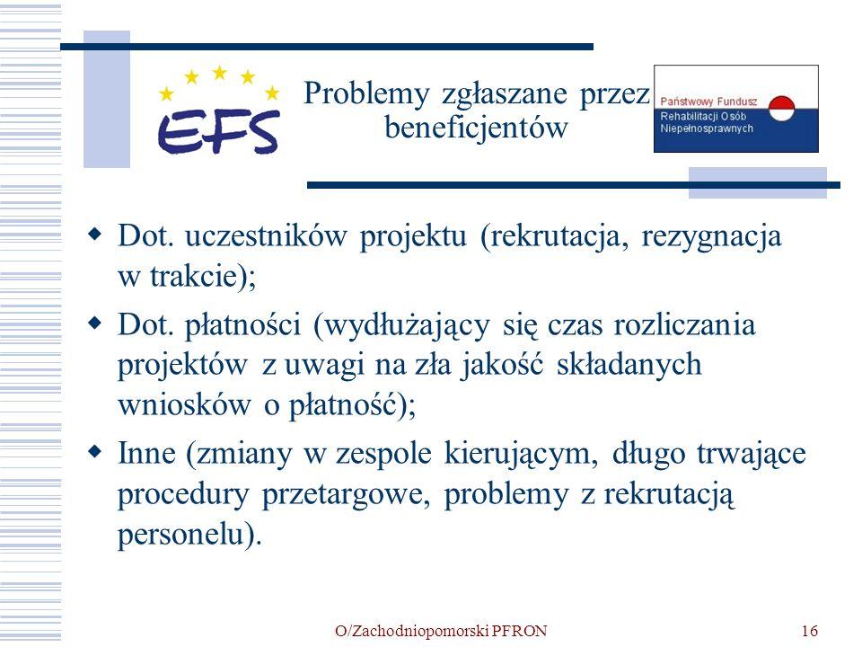 O/Zachodniopomorski PFRON16 Problemy zgłaszane przez beneficjentów Dot. uczestników projektu (rekrutacja, rezygnacja w trakcie); Dot. płatności (wydłu