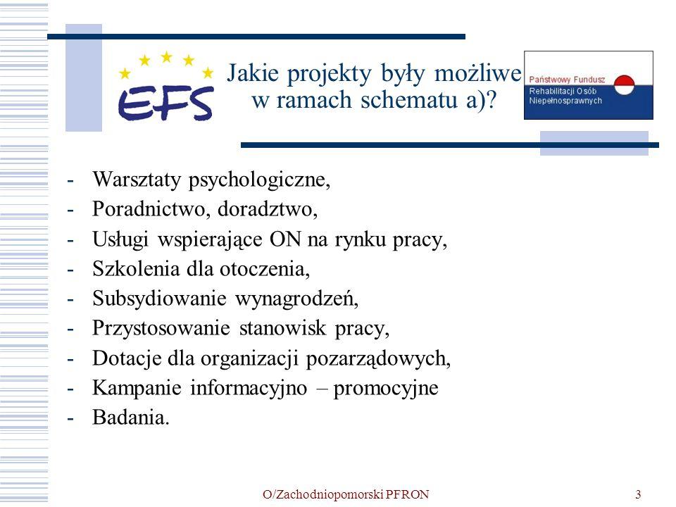O/Zachodniopomorski PFRON3 Jakie projekty były możliwe w ramach schematu a)? -Warsztaty psychologiczne, -Poradnictwo, doradztwo, -Usługi wspierające O