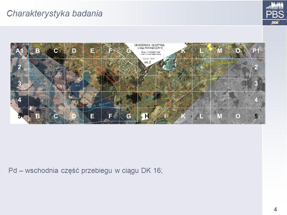 4 Charakterystyka badania Pd – wschodnia część przebiegu w ciągu DK 16; 115171921 122131222 61 1623111