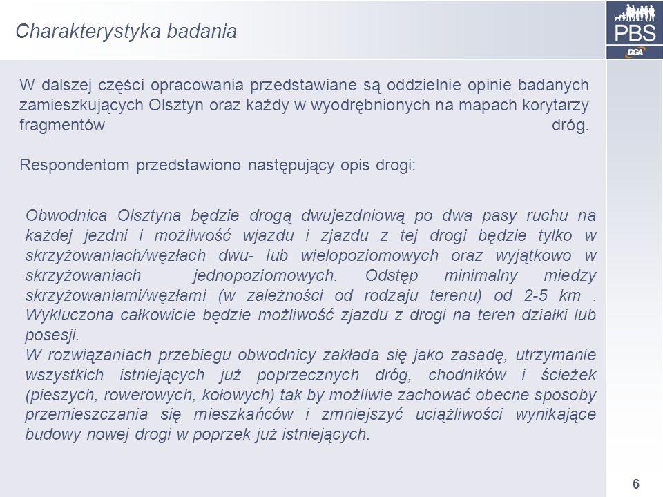 6 Charakterystyka badania W dalszej części opracowania przedstawiane są oddzielnie opinie badanych zamieszkujących Olsztyn oraz każdy w wyodrębnionych