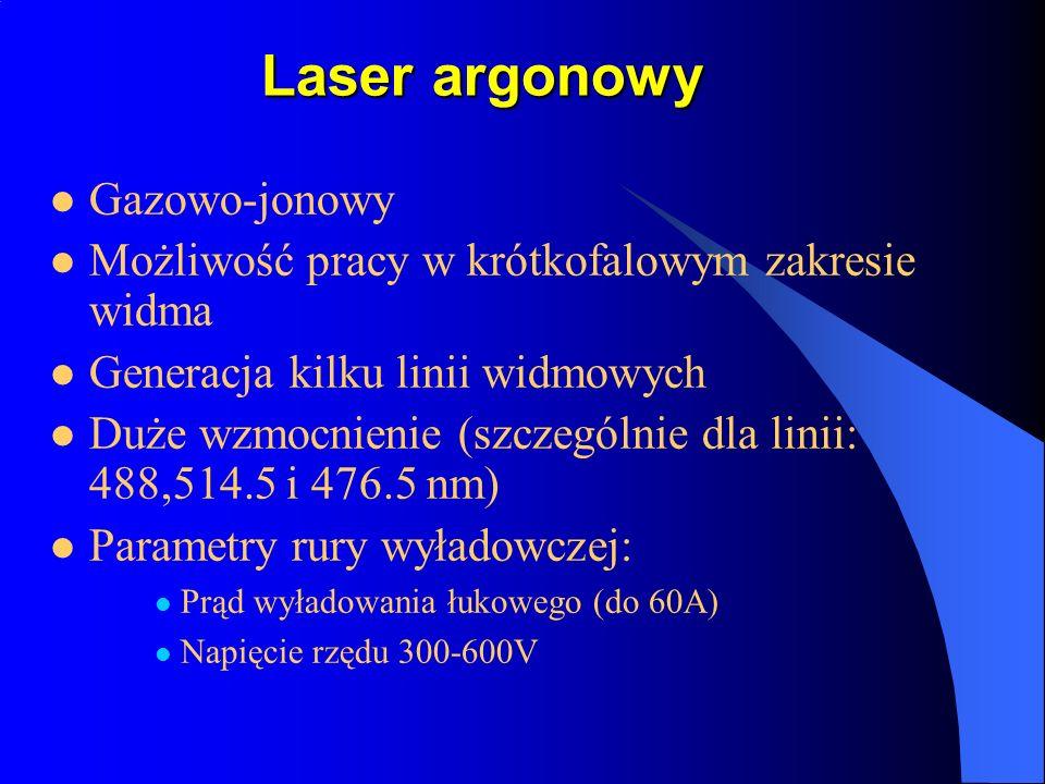 Laser argonowy Gazowo-jonowy Możliwość pracy w krótkofalowym zakresie widma Generacja kilku linii widmowych Duże wzmocnienie (szczególnie dla linii: 4