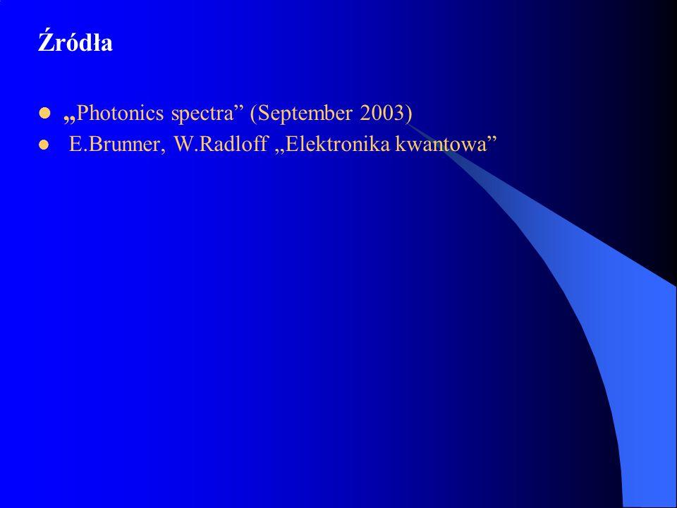 Źródła Photonics spectra (September 2003) E.Brunner, W.Radloff Elektronika kwantowa
