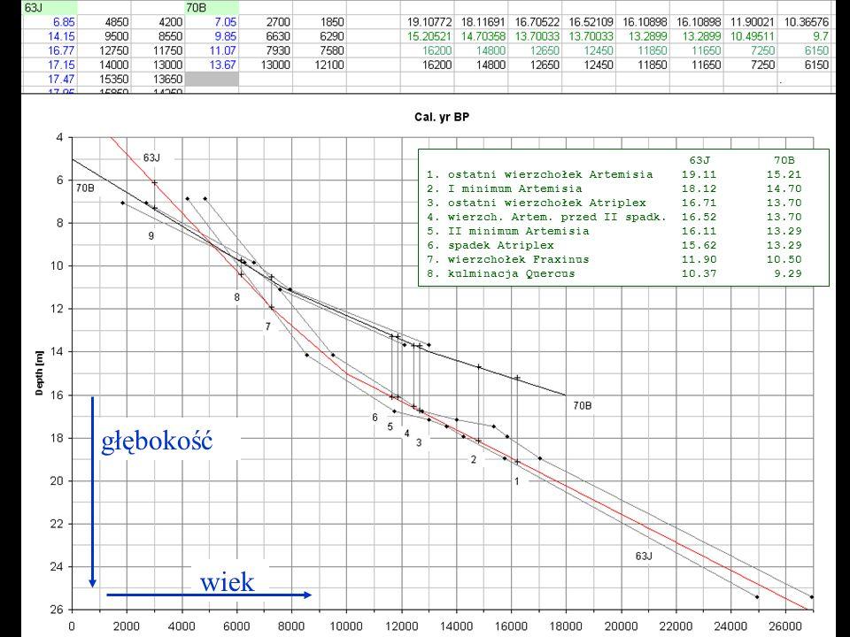 głębokość wiek 63J 70B 1. ostatni wierzchołek Artemisia19.1115.21 2. I minimum Artemisia18.1214.70 3. ostatni wierzchołek Atriplex16.7113.70 4. wierzc