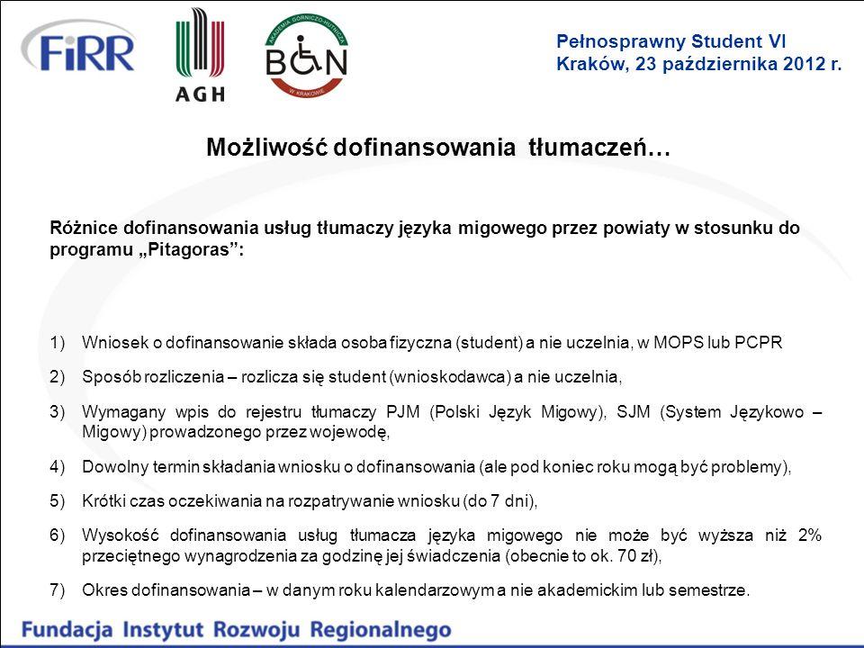 Możliwość dofinansowania tłumaczeń… Różnice dofinansowania usług tłumaczy języka migowego przez powiaty w stosunku do programu Pitagoras: 1)Wniosek o