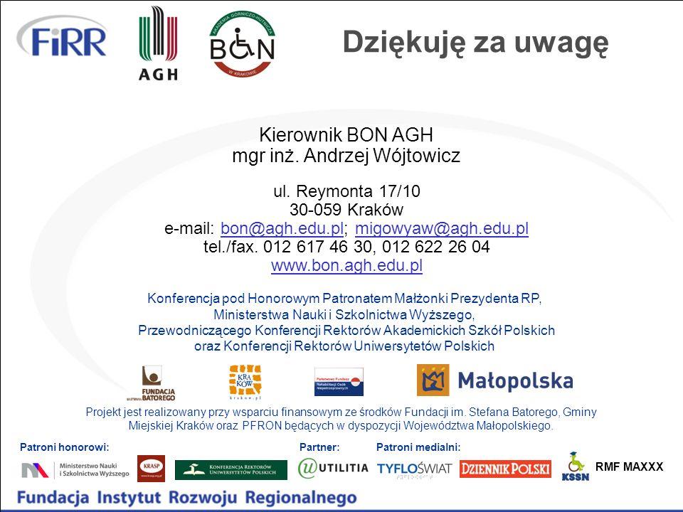 Projekt jest realizowany przy wsparciu finansowym ze środków Fundacji im. Stefana Batorego, Gminy Miejskiej Kraków oraz PFRON będących w dyspozycji Wo