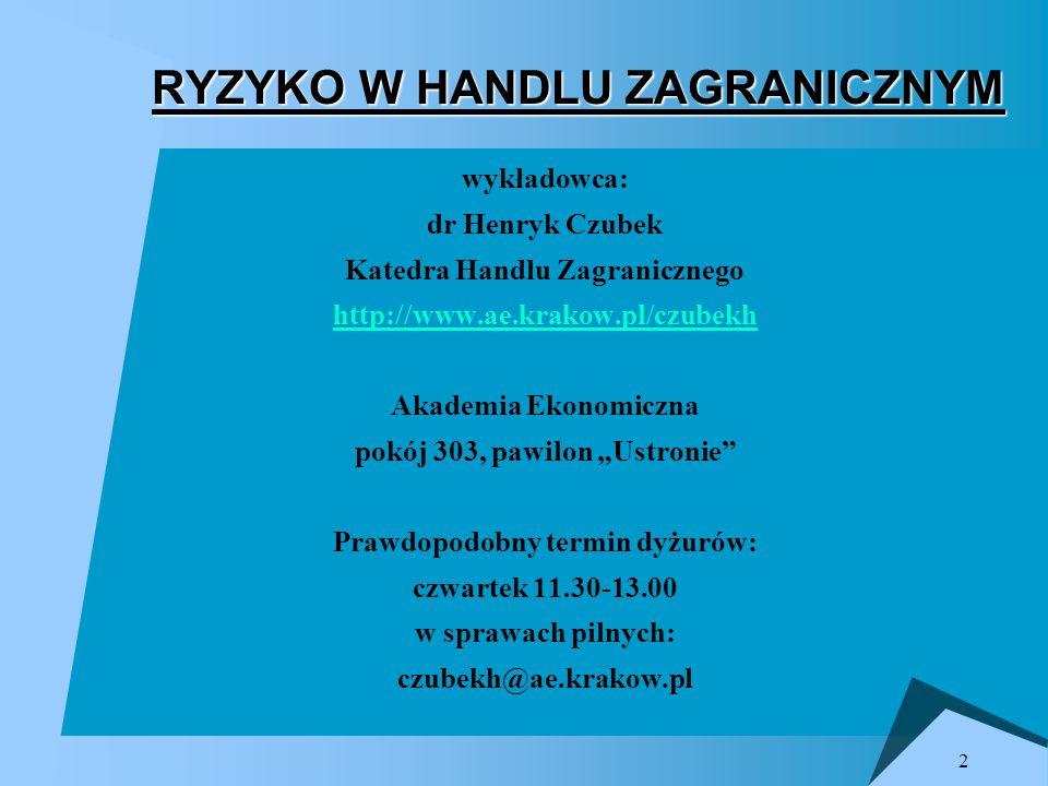 2 RYZYKO W HANDLU ZAGRANICZNYM wykładowca: dr Henryk Czubek Katedra Handlu Zagranicznego http://www.ae.krakow.pl/czubekh Akademia Ekonomiczna pokój 30