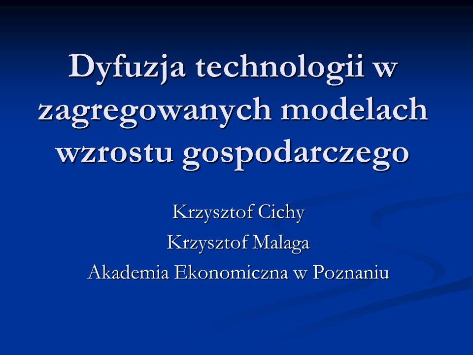 Badania empiryczne Wartość parametru γ skalibrowano tak, żeby wynikająca z modelu dynamika technologii była możliwie najbardziej zbliżona do empirycznej dynamiki dla USA.