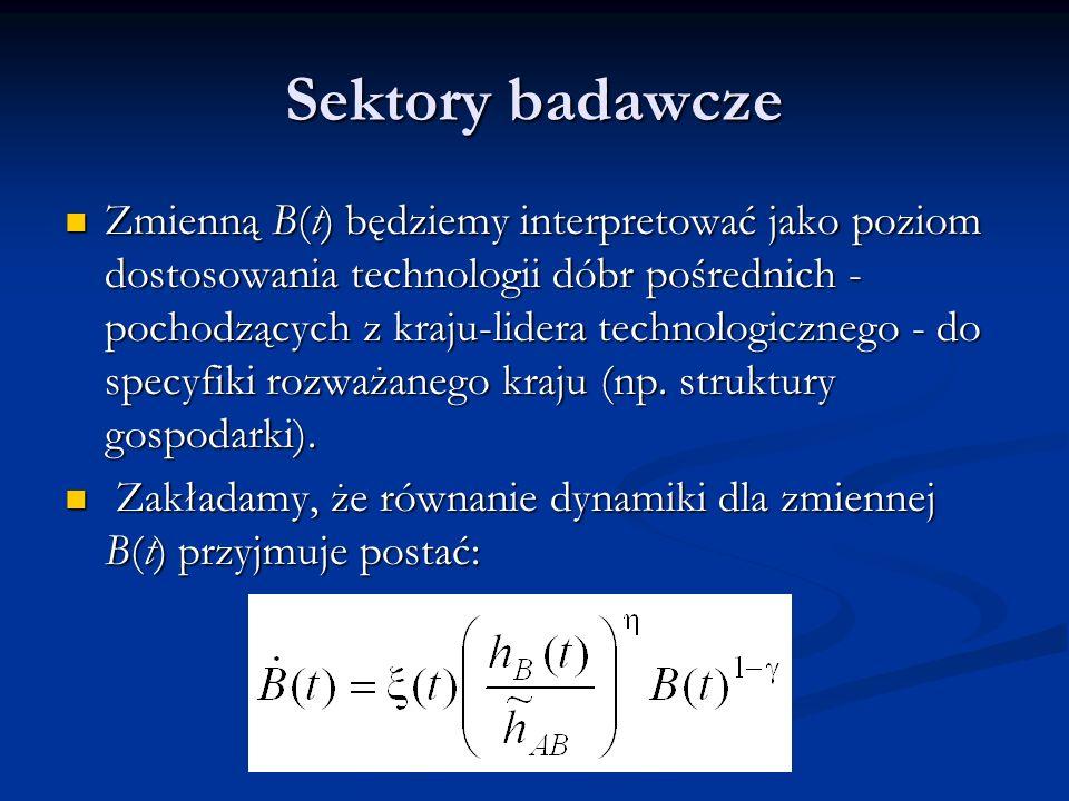 Sektory badawcze Zmienną B(t) będziemy interpretować jako poziom dostosowania technologii dóbr pośrednich - pochodzących z kraju-lidera technologiczne